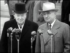 President Truman welcomed Mr Churchill when he arrived in Washington