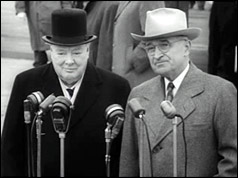 President Truman welcomed Mr Churchill when he arrived in Washington