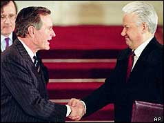 Presidents George Bush and Boris Yeltsin signed Tart II in the Kremlin in Moscow