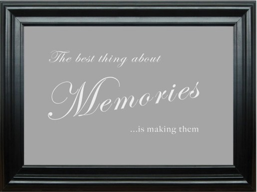 Adhesive-Wall Mural-11327-The Best Thing About Memories Grey White-Word Quotes-Vinyl-B