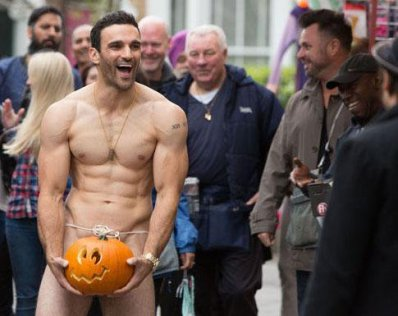 naked man in pumpkin