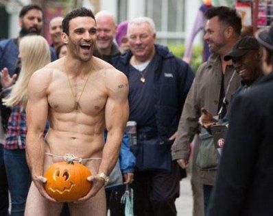 naked man in pumpkin